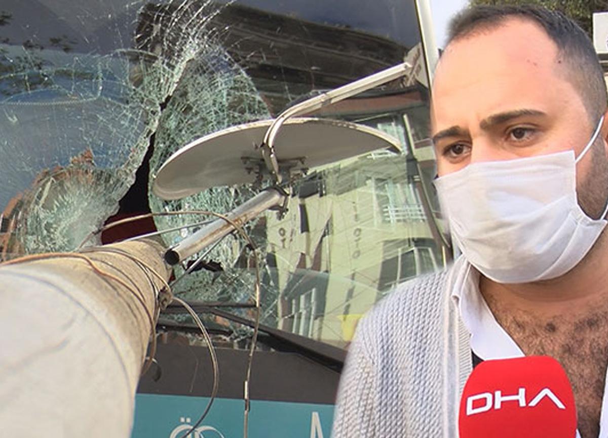 Gaziosmanpaşa'da korkunç kaza! Otobüs camından direk girdi, şöför son anda kurtuldu...