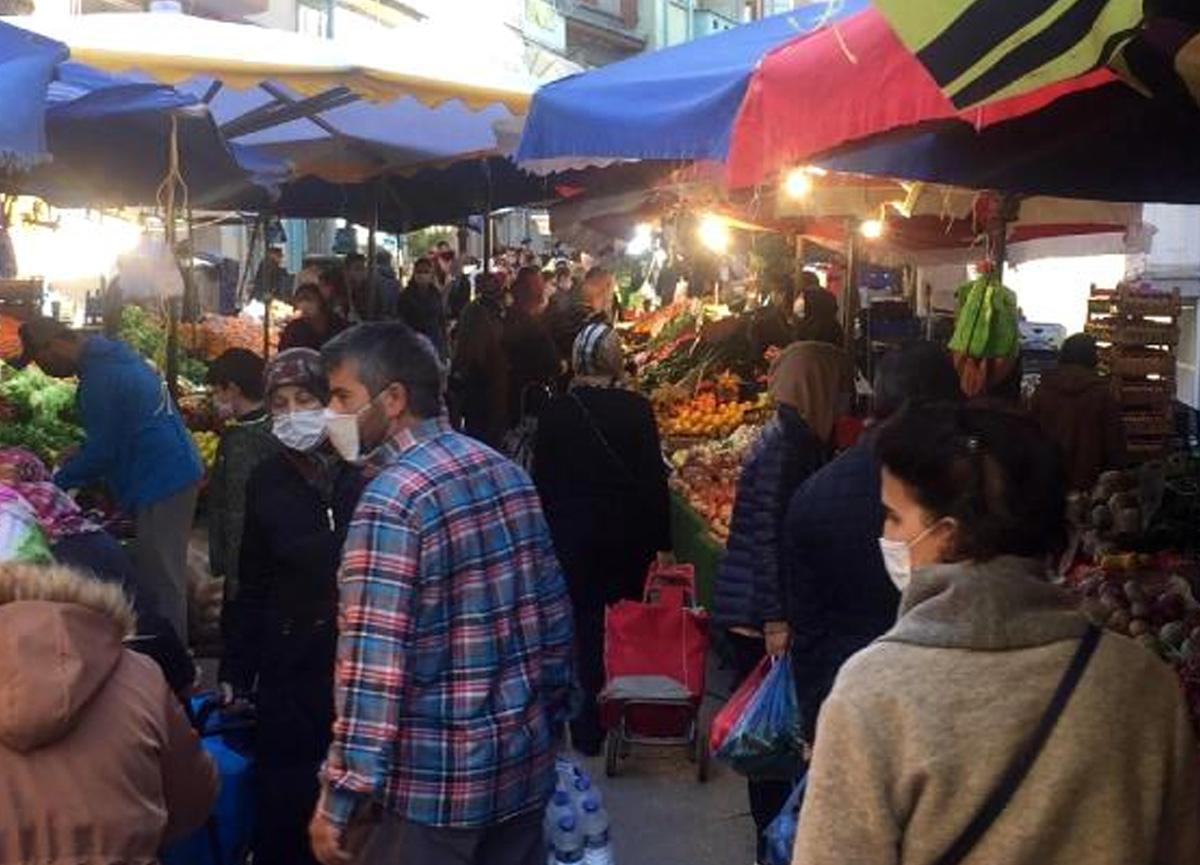 Sokağa çıkma yasağı öncesi pazar yerleri dolup taştı