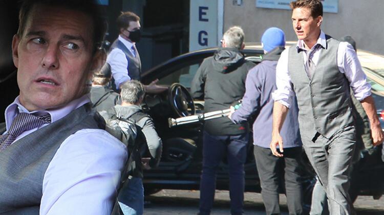 Dünyaca ünlü oyuncu Tom Cruise, 'Görevimiz Tehlike 7' filminin setinde küplere bindi