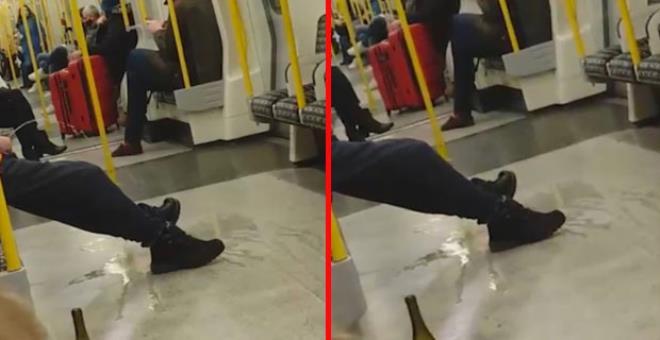 Metroda bir adam, diğer yolcuların gözü önünde tuvaletini yaptı