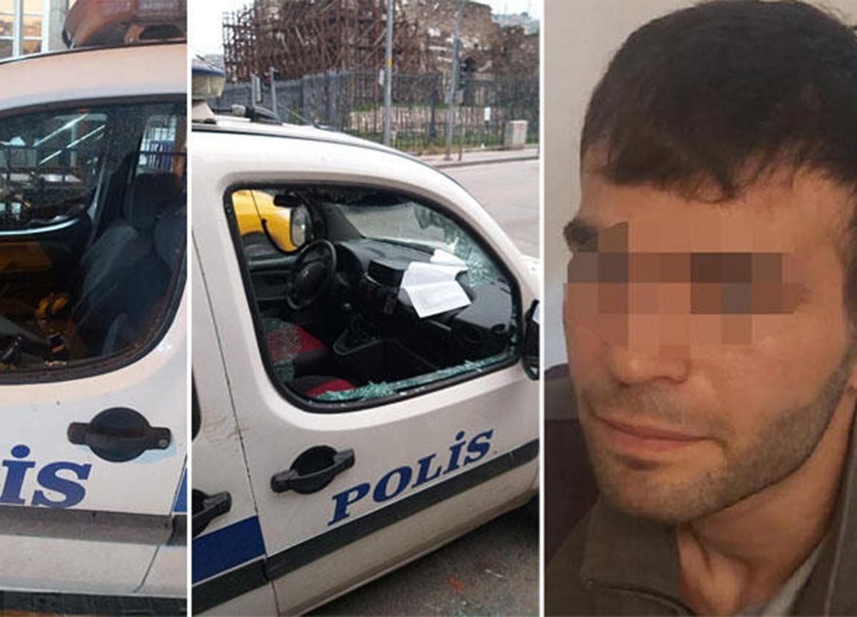 İzmir'de şaşkına çeviren olay! Tutuklanmak için polis otolarına saldırdı
