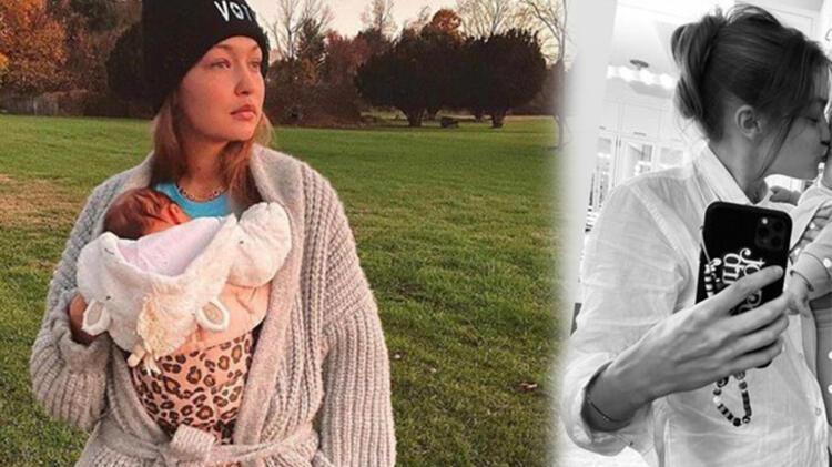 Gigi Hadid, sosyal medya hesabından yeni bir paylaşım yaptı! 'Kızım dört aylık'