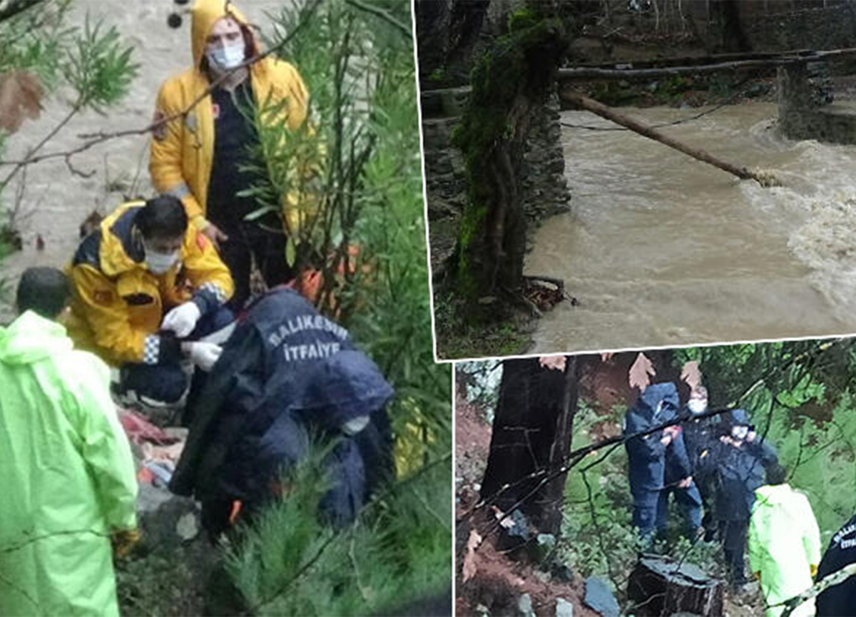 Balıkesir'de ahşap köprü çöktü! 2 kişi dereye düştü