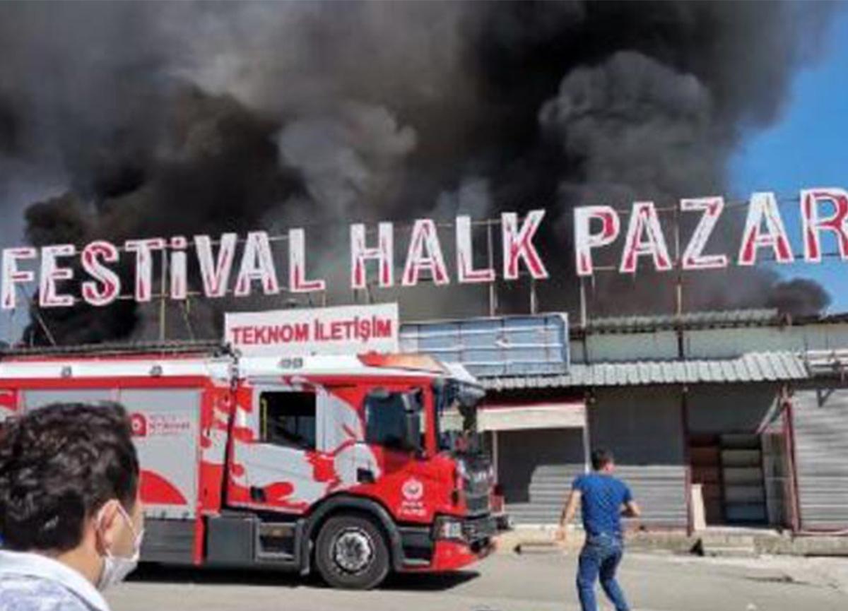 Antalya Festival Çarşısı'nda yangın! 10 iş yeri zarar gördü