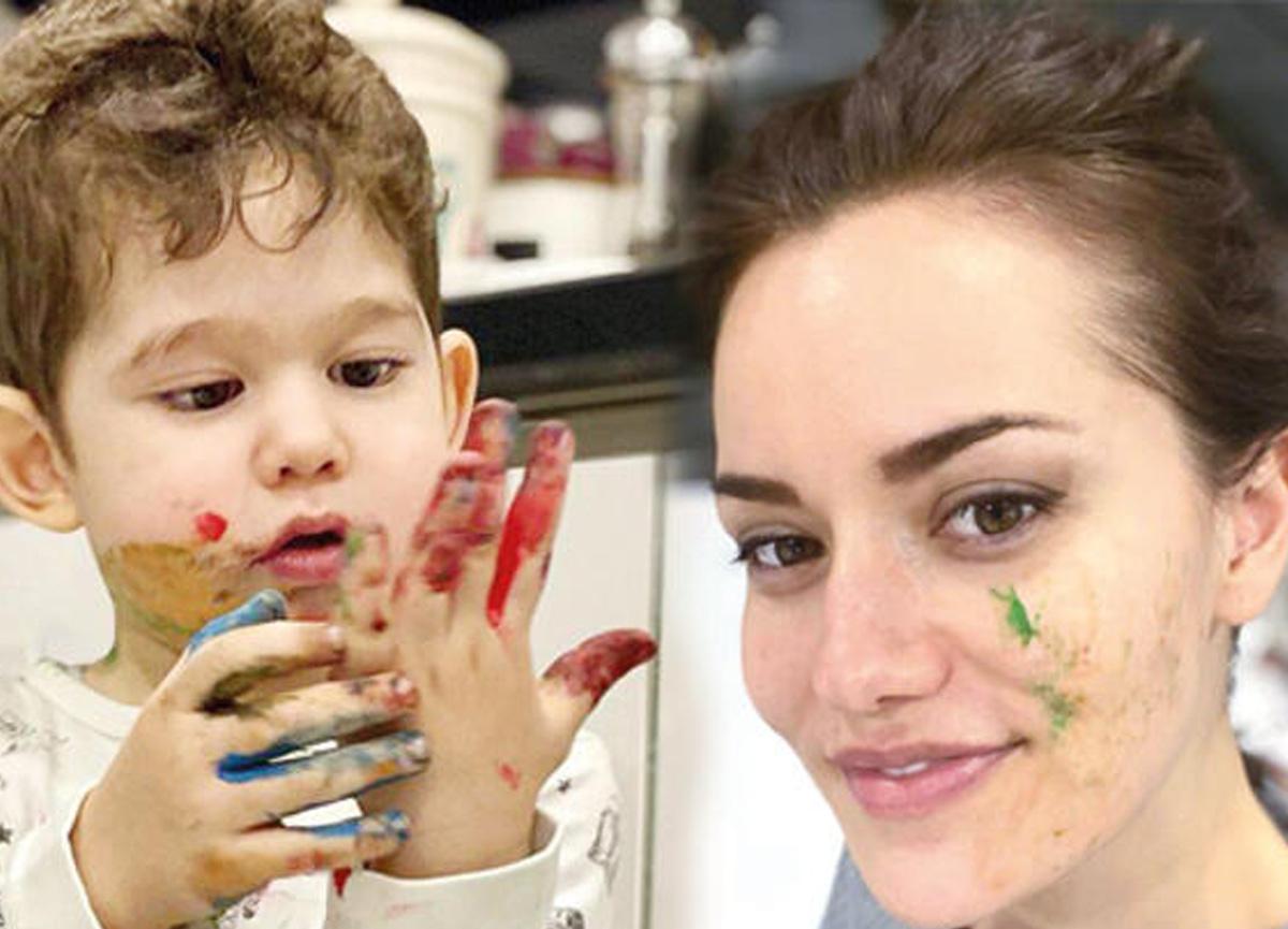 Ünlü oyuncu Fahriye Evcen, oğlu Karan'ın fotoğrafını sosyal medyadan paylaştı!