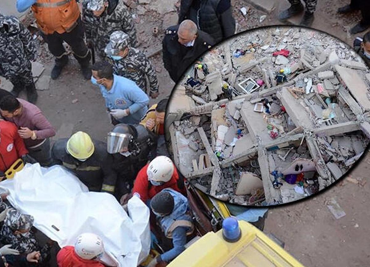 Dün tren faciası bugün 10 katlı binanın çöküşü! Mısır'da üst üste felaketler...