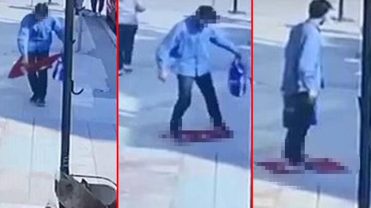Bursa'da skandal! Türk bayrağını yere serip üzerine bastı, gözaltına alındı