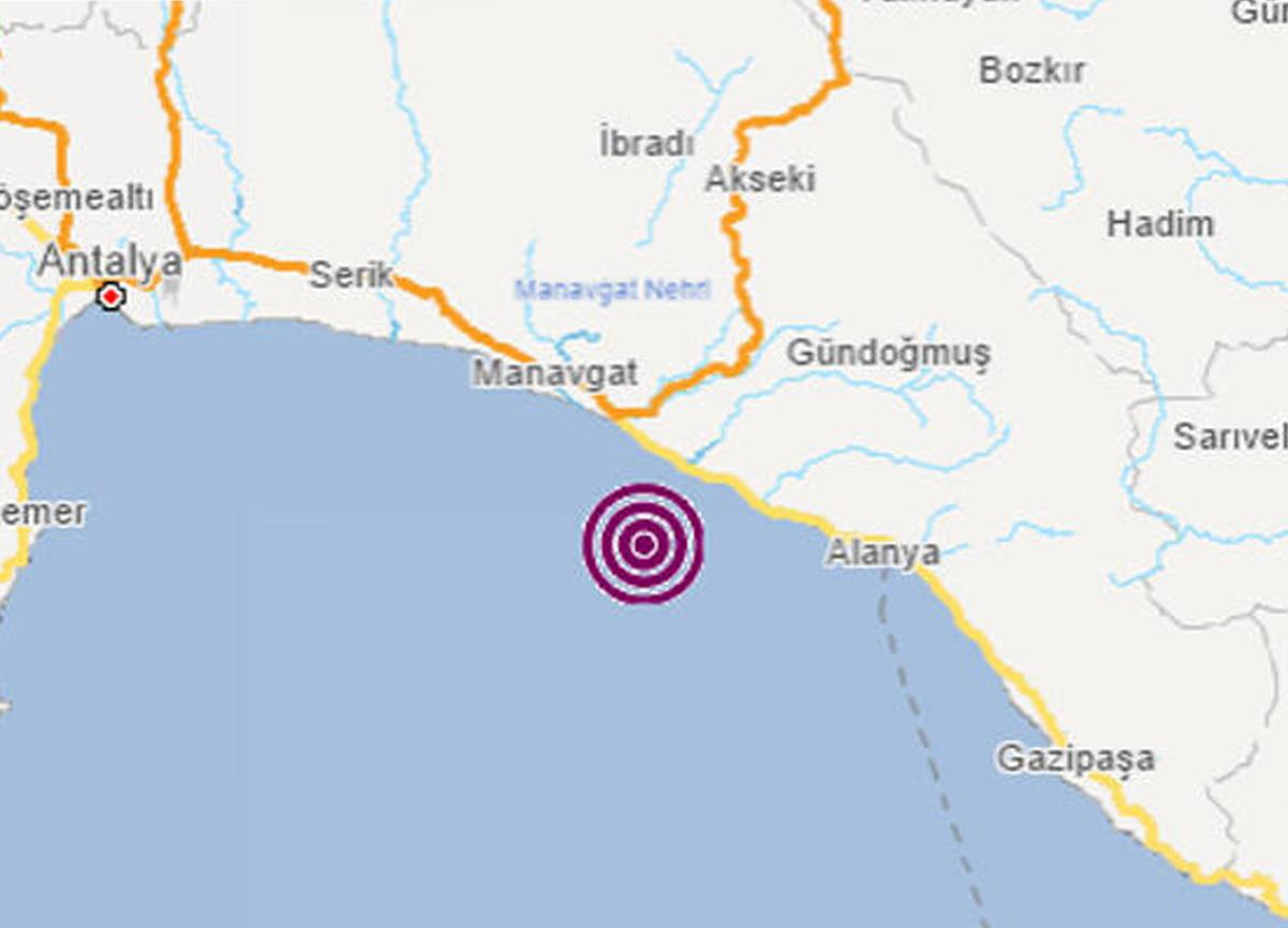 Antalya'da 4.0 büyüklüğünde deprem!