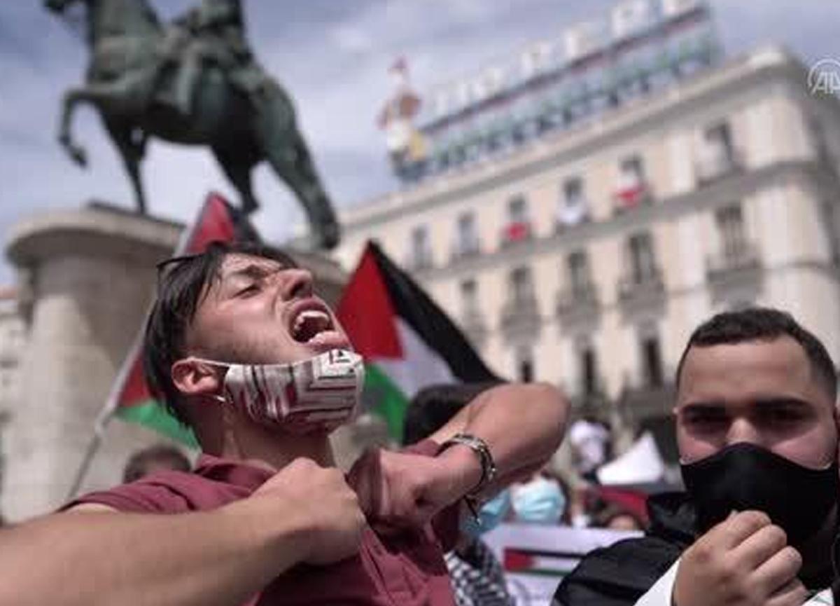 İspanya'da Filistin protestosu