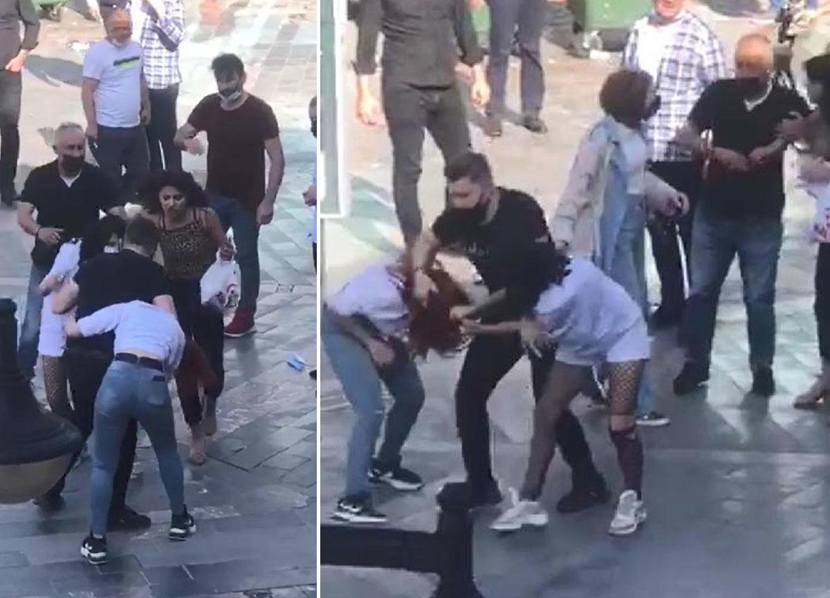 Genç kızlar birbirine girdi: Cadde ortasında saç saça baş başa kavga!