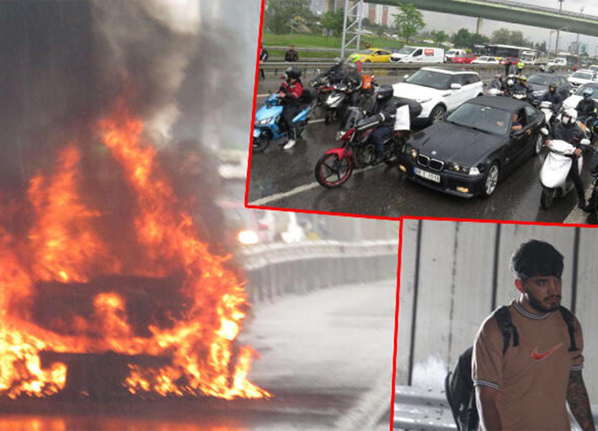 Ataşehir'de seyir halindeki otomobil alev aldı!