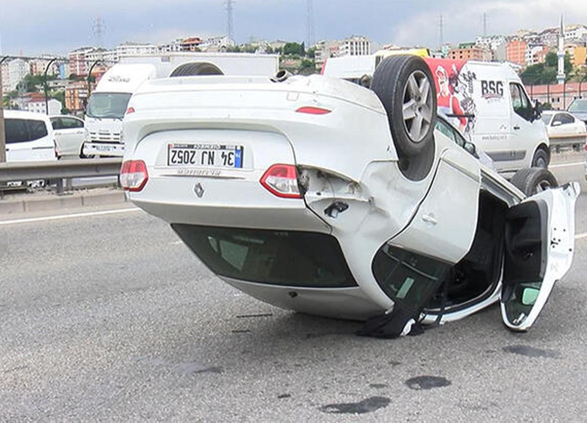 Son dakika: Bahçeşehir TEM'de araç takla attı!