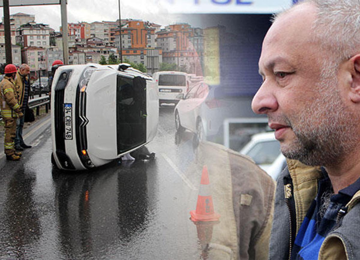 İstanbul'da kaza! Araç takla attı, burnu bile kanamadı