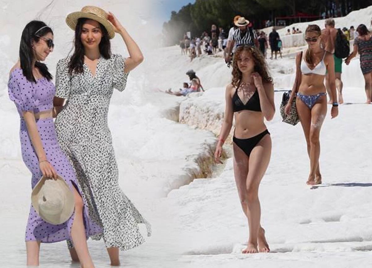 Kısıtlamasız ilk Cumartesi'de turistler Beyaz Cennet'e akın etti