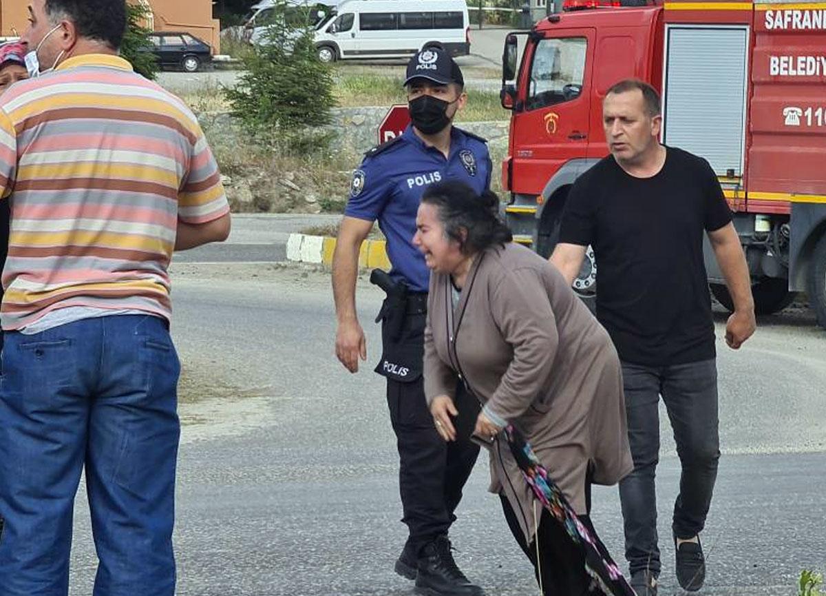 Karabük'te freni boşalıp devrilen tır şoförünün eşi sinir krizi geçirdi