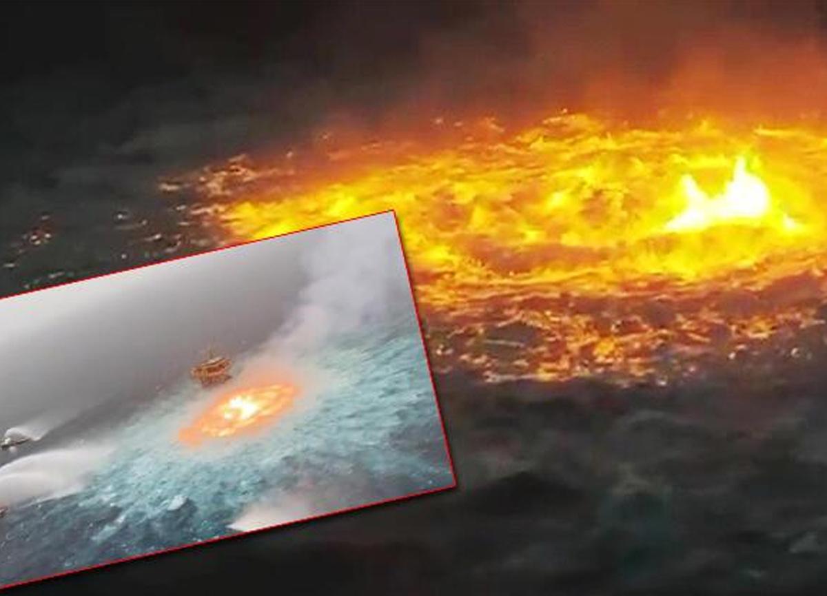Meksika Körfezi'nde okyanusta yangın çıktı! Filmleri aratmayan görüntüler...