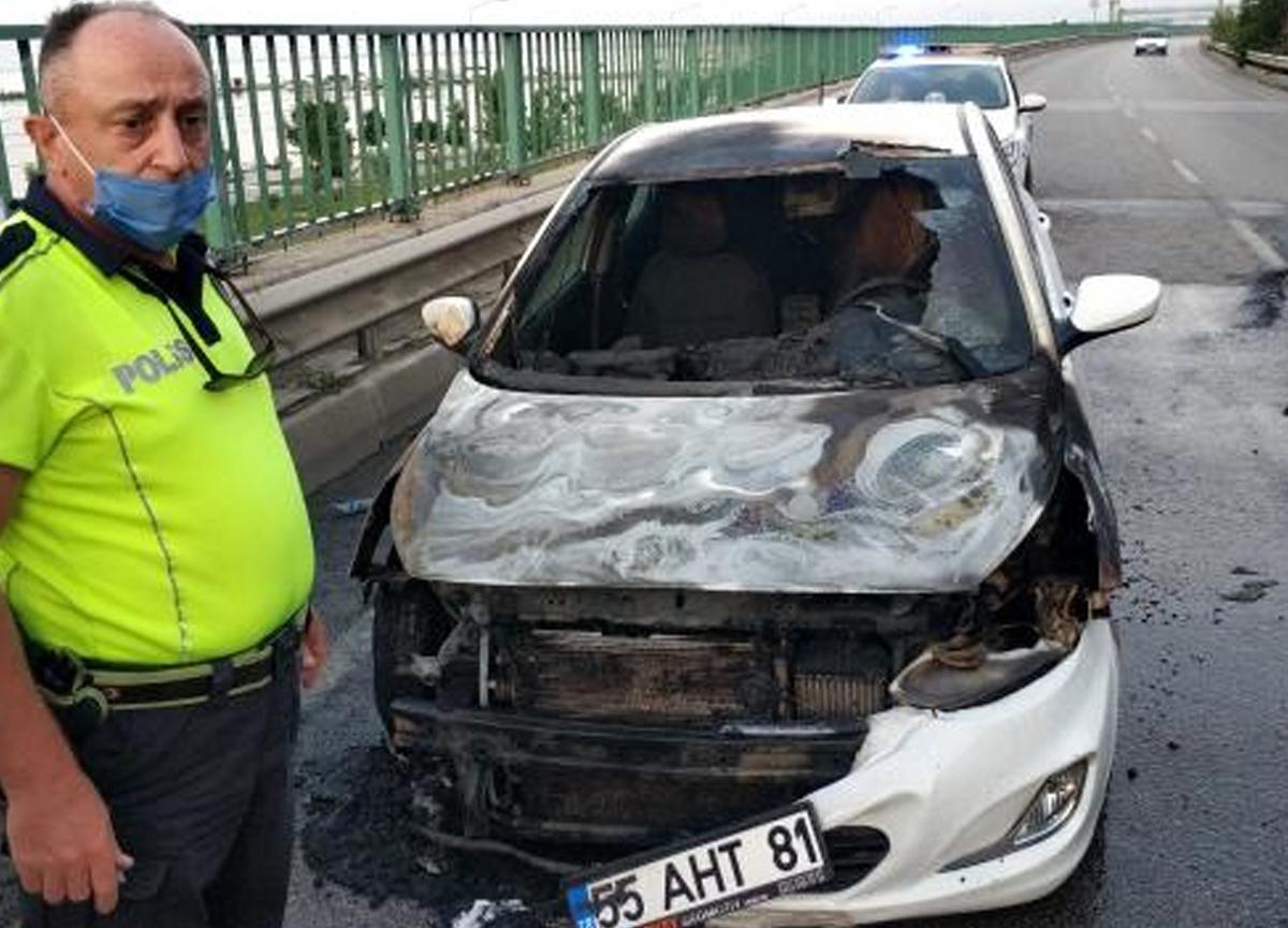 1 hafta önce aldığı arabası cayır cayır yandı!