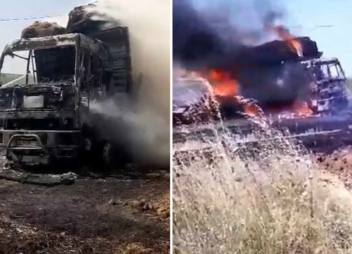 Balya yüklü kamyondaki yangın tarlayı küle çevirdi