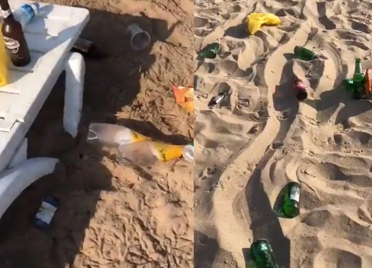 Bozcaada'daki plaj, parti sonrasında çöplüğe döndü, sosyal medyada tepki çekti