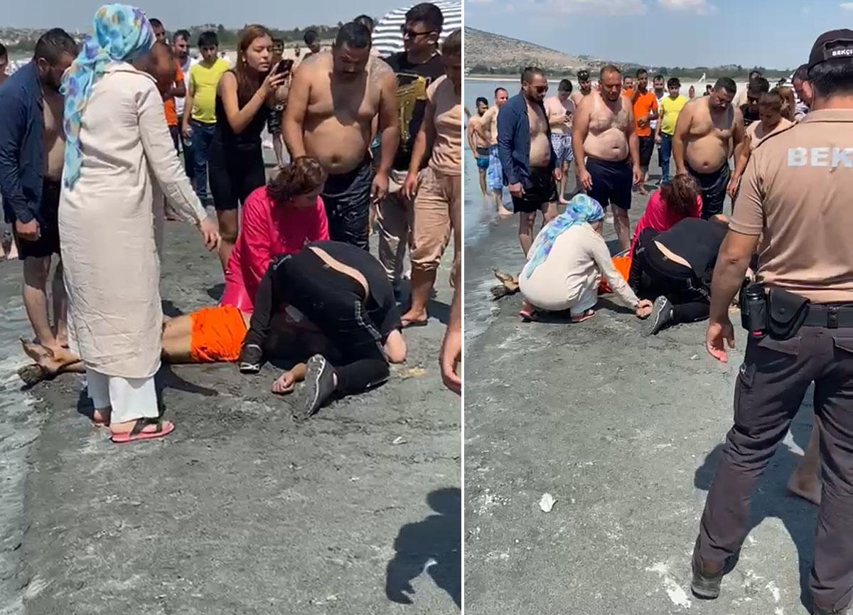 Serinlemek için Salda Gölü'ne giren genç boğularak yaşamını yitirdi