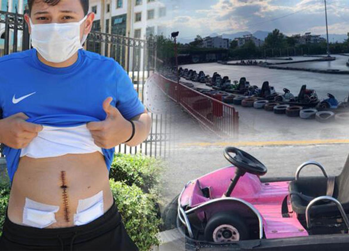 Go-kart pistinde korkunç kaza! Bağırsakları yırtıldı
