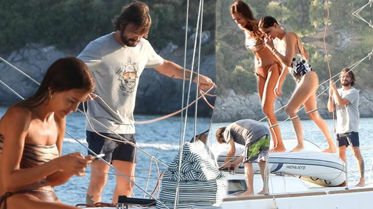 Ahmet Kural ile Çağla Gizem Çelik arkadaşlarının teknesinde