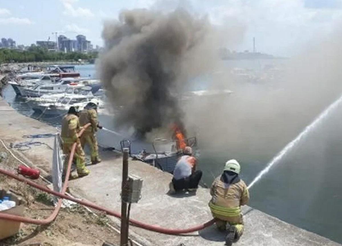 Kartal Sahili'nde tekneler yandı: 8 teknede büyük hasar