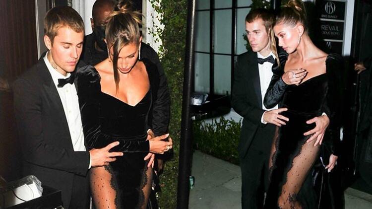 Justin Bieber'dan eşi Hailey Baldwin'in transparan kıyafetine önlem