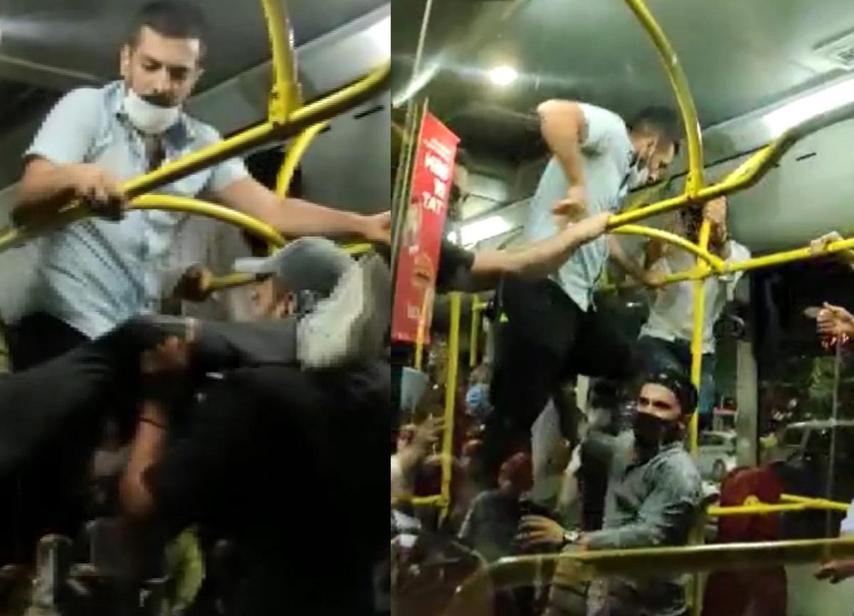 Üsküdar'da otobüste maske kavgası
