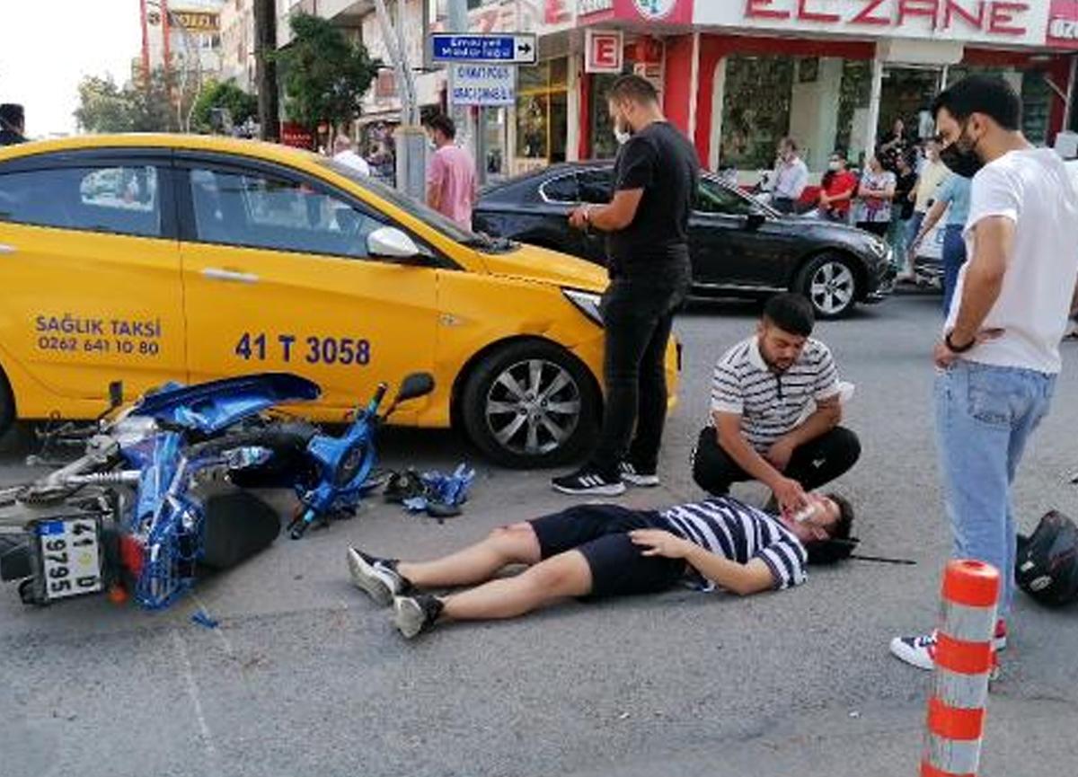 Ticari taksiyle çarpışan motosiklet sürücüsü yaralandı