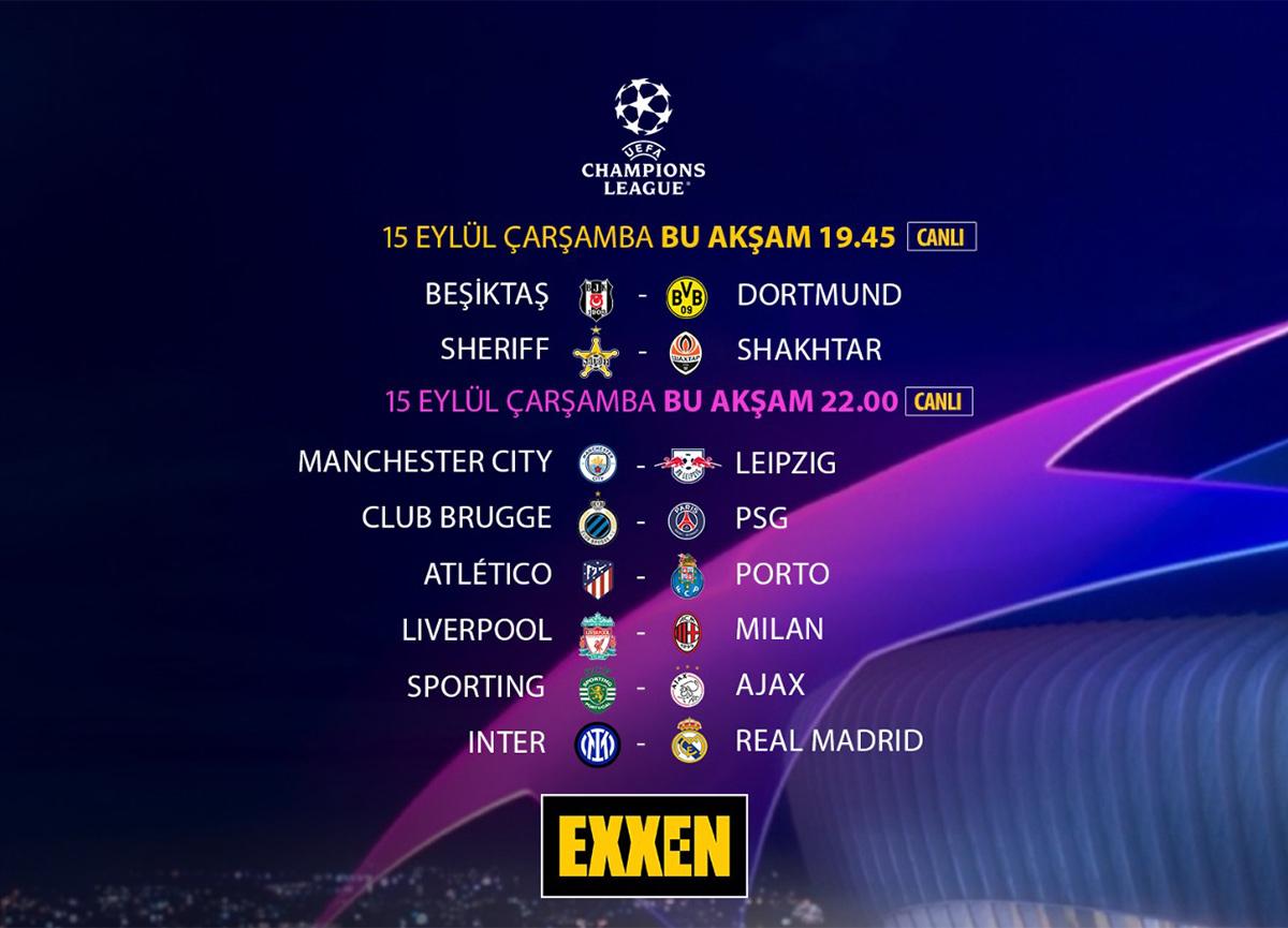UEFA Şampiyonlar Ligi grup maçları Exxen'de sizlerle buluşuyor!