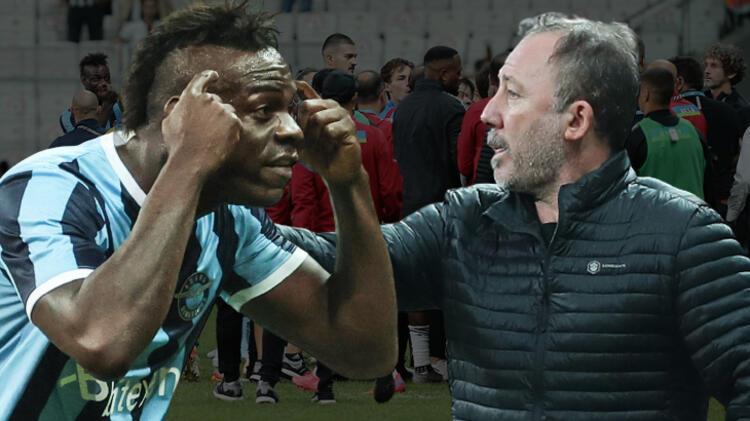 Adana Demir maçında inanılmaz olaylar! Balotelli'den Sergen Yalçın'a şok hareket