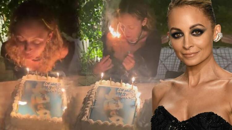 Nicole Richie'nin zor anları! Doğum günü pastasını üflerken saçları tutuştu