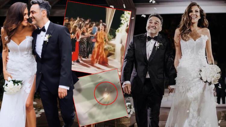 Arda Türkmen ve Melodi Erbirliler'in düğününde panik anları! Gelinliğin üzerine maytap düştü