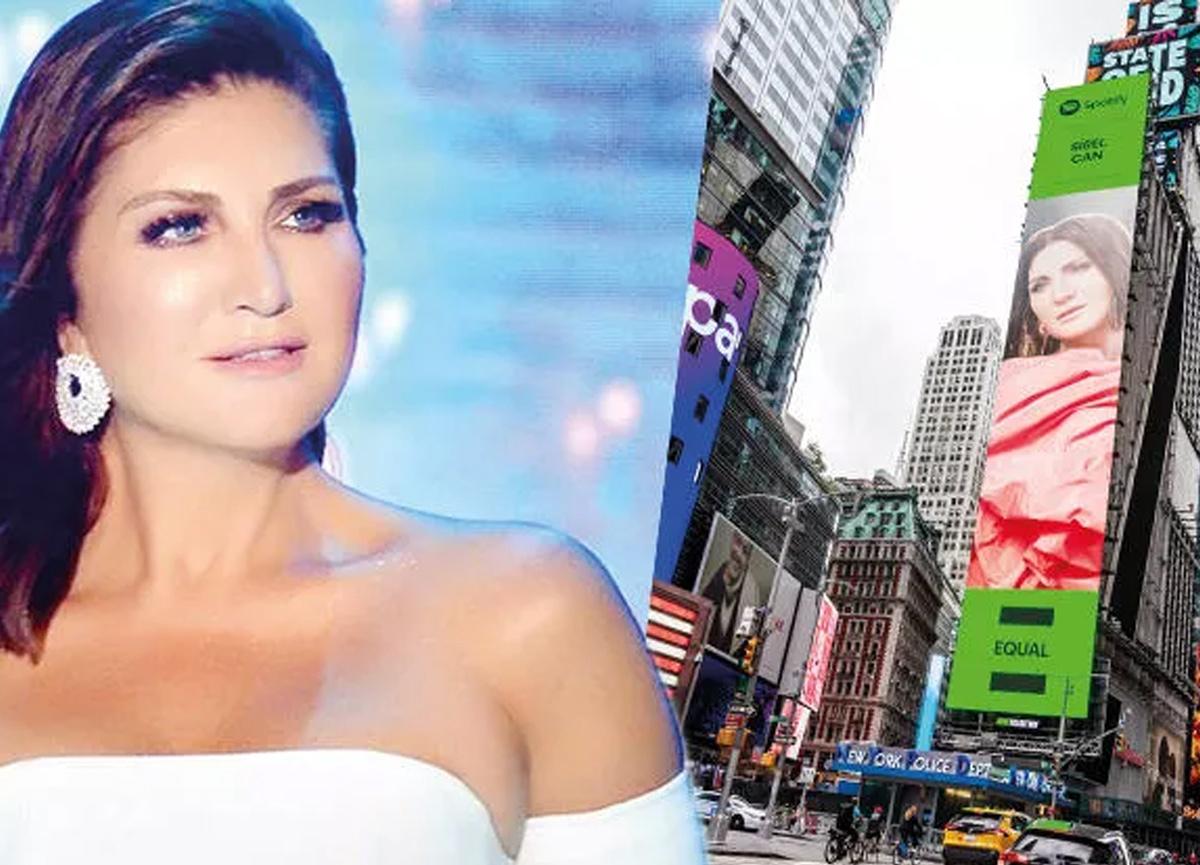 Sibel Can, New York'ta Times Meydanı'ndaki dev dijital reklam panosunda yer aldı