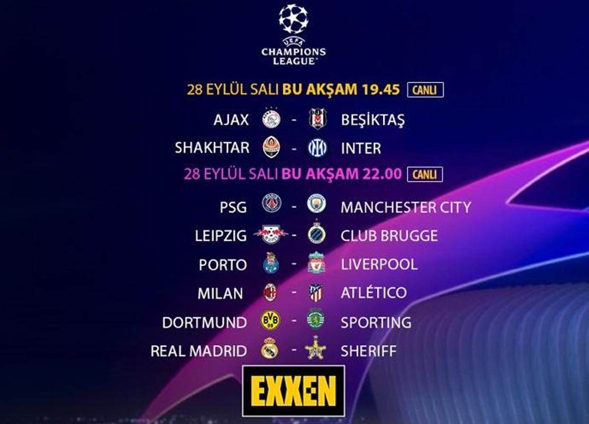 UEFA Şampiyonlar Ligi'nde ikinci grup maçları, canlı yayınlarla Exxen'de sizlerle buluşuyor