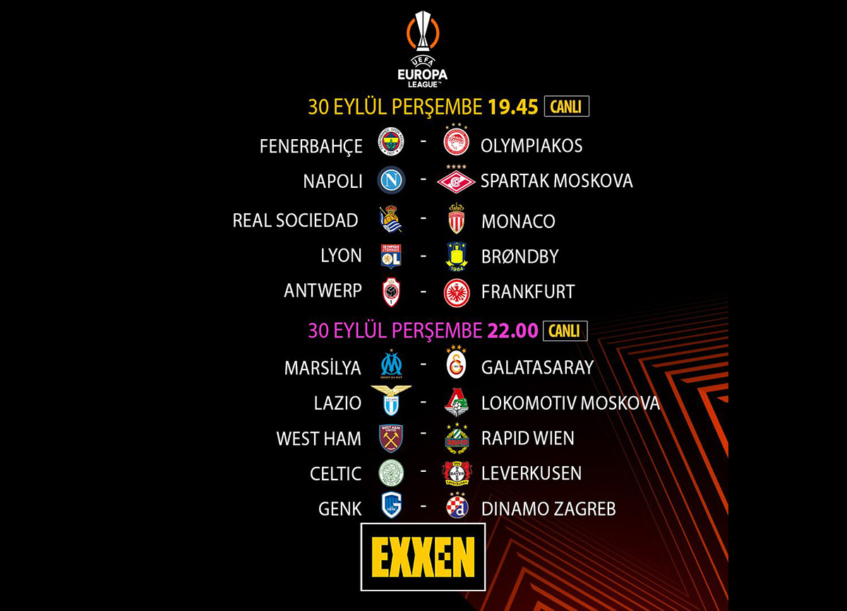 UEFA Avrupa Ligi ve UEFA Avrupa Konferans Ligi ikinci grup maçları canlı yayınlarla Exxen'de