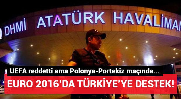 Polonya-Portekiz maçında UEFA'ya Türkiye protestosu!